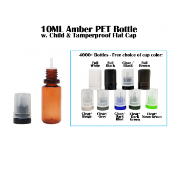10ML Amber PET Bottle - Flat Cap w. tip