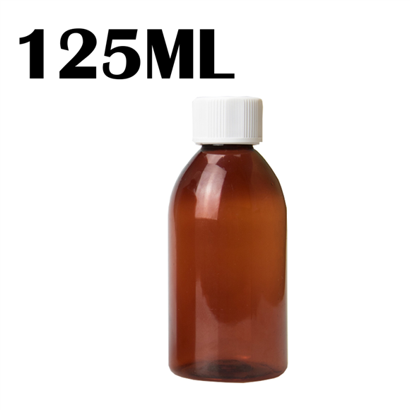125ML Amber PET Bottle - Child & Tamperproof