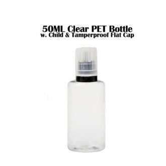 50ML Clear PET Bottle - Flat Cap w. tip